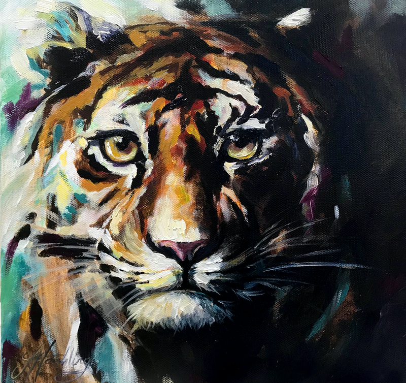 (CreativeWork) AND INTO THE FOREST I GO, TO LOSE MY MIND AND FIND MY SOUL - Tiger by Jasmine Hambling. Oil Paint. Shop online at Bluethumb.
