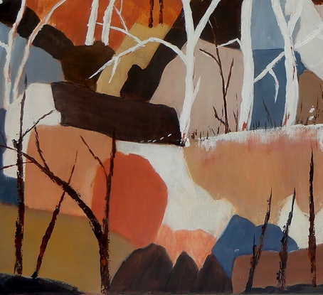 (CreativeWork) Ghost Gum Ridge by Doodie Herman. Acrylic Paint. Shop online at Bluethumb.