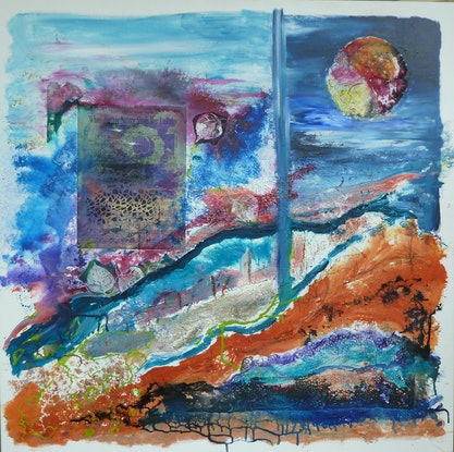(CreativeWork) Tidal Change by Ruby Purple. Mixed Media. Shop online at Bluethumb.
