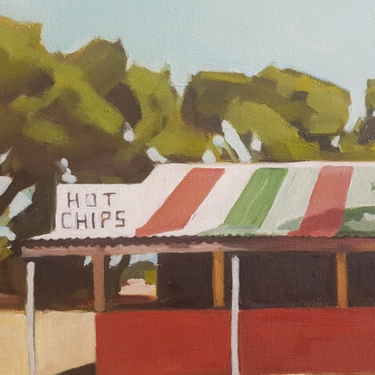 (CreativeWork) Shrine to the hot chip by Alice Tilley. Oil Paint. Shop online at Bluethumb.