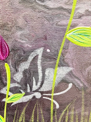 (CreativeWork) Affordable canvas original - Roses by Debra Ryan. Mixed Media. Shop online at Bluethumb.