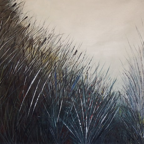 "(CreativeWork) "" Misty Grass"" An62 by Greg Stevenson. Acrylic Paint. Shop online at Bluethumb."