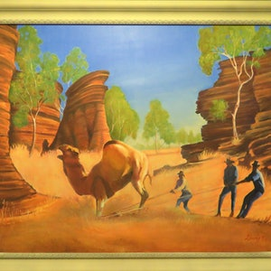 (CreativeWork) The Camel Catchers by Rob Davis. oil-painting. Shop online at Bluethumb.
