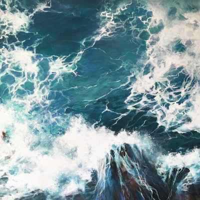 (CreativeWork) Above the Sea 2 by Kathryn Johnston. acrylic-painting. Shop online at Bluethumb.