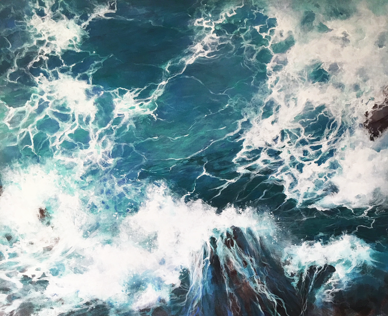 (CreativeWork) Above the Sea 2 by Kathryn Johnston. Acrylic Paint. Shop online at Bluethumb.