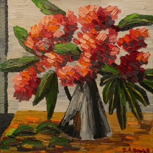 (CreativeWork) Red Flowering Gum in Tarnished Jug by Elisabeth Howlett. oil-painting. Shop online at Bluethumb.