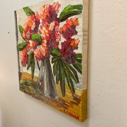 (CreativeWork) Red Flowering Gum in Tarnished Jug by Elisabeth Howlett. Oil Paint. Shop online at Bluethumb.