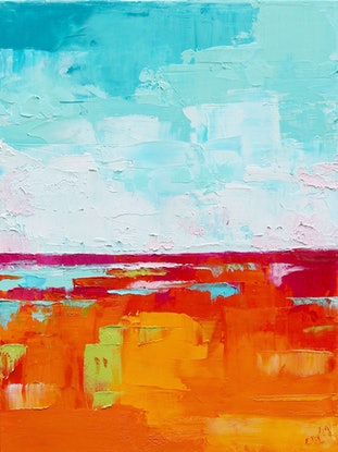 (CreativeWork) Abstract Landscape 1 by Eve Izzett. Oil Paint. Shop online at Bluethumb.