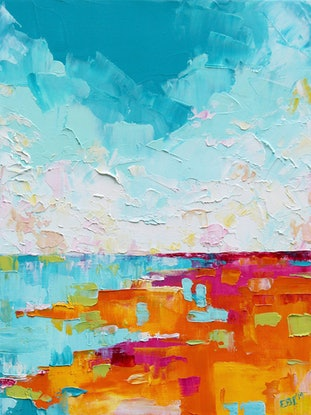 (CreativeWork) Abstract Landscape 2 by Eve Izzett. Oil Paint. Shop online at Bluethumb.