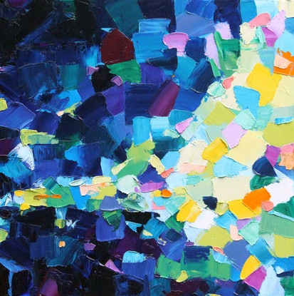 (CreativeWork) Splash of Light - Abstract Oil Painting by Eve Izzett. Oil Paint. Shop online at Bluethumb.