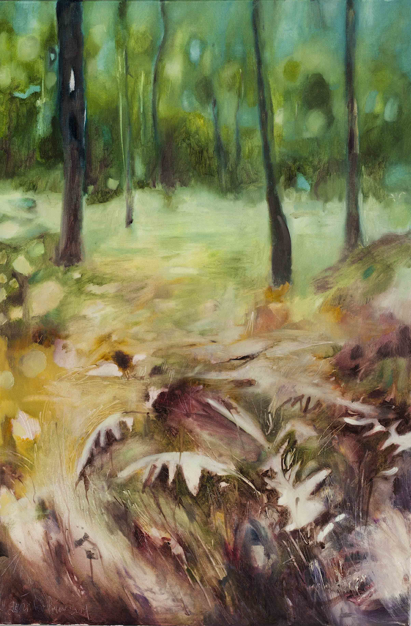 (CreativeWork) Forest junction by Jennifer Prior. Oil Paint. Shop online at Bluethumb.