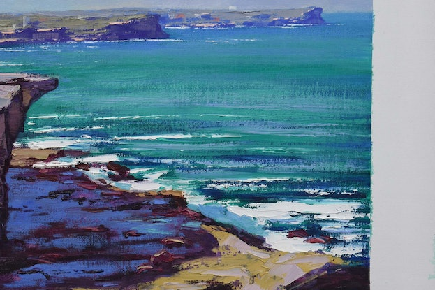 (CreativeWork) Bondi to Coogee coast  by Graham Gercken. Oil Paint. Shop online at Bluethumb.