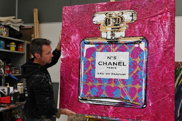 (CreativeWork) Pink Silk and Chanel 120cm x 120cm Coco Chanel Perfume Bottle Textured Urban Pop Art Gloss Finish FRANKO by _Franko _. Mixed Media. Shop online at Bluethumb.