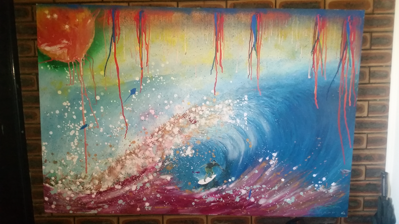 (CreativeWork) Wild Wave  by Guy Sohm. Mixed Media. Shop online at Bluethumb.