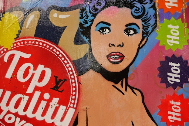 (CreativeWork) Cabaret and Cabernet 160cm x 100cm Candy Barr Stripper Textured Urban Pop Art Gloss Finish FRANKO by _Franko _. Mixed Media. Shop online at Bluethumb.