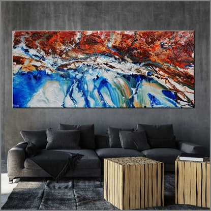 (CreativeWork) Blue Silk 240cm x 100cm White Blue Brown Orange Textured Ink Abstract Gloss Finish FRANKO by _Franko _. Acrylic Paint. Shop online at Bluethumb.