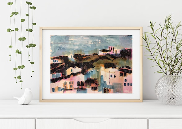 (CreativeWork) Jemima's Hill House by Narelle Callen. Acrylic Paint. Shop online at Bluethumb.