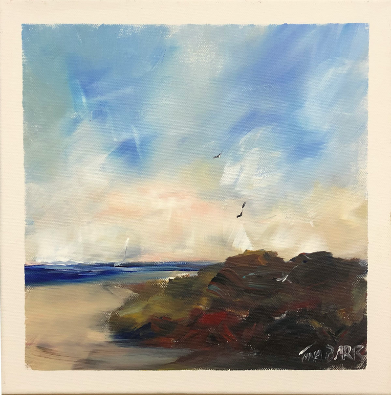(CreativeWork) Rocky Shores - Seascape by Tina Barr. Acrylic Paint. Shop online at Bluethumb.