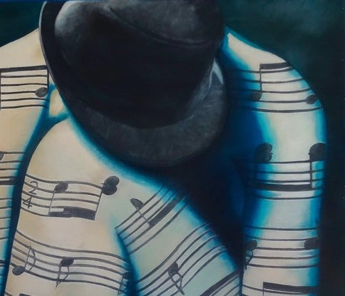 (CreativeWork) body of music -     (same painting)   duplicate  by Monika Feuerstein. Oil Paint. Shop online at Bluethumb.