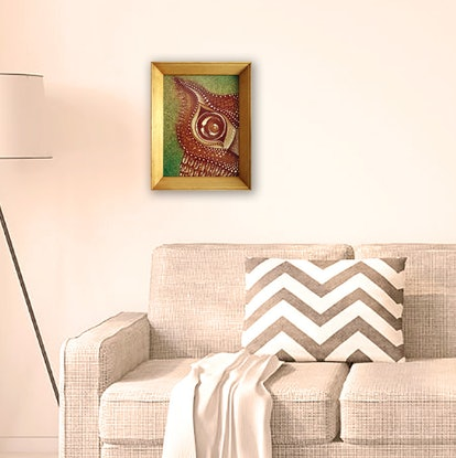 (CreativeWork) Owl on Cork, in Frame by Nevena Nikolic. Acrylic Paint. Shop online at Bluethumb.