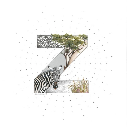 (CreativeWork) Z is for Zebra by Bonnie Larden. Mixed Media. Shop online at Bluethumb.