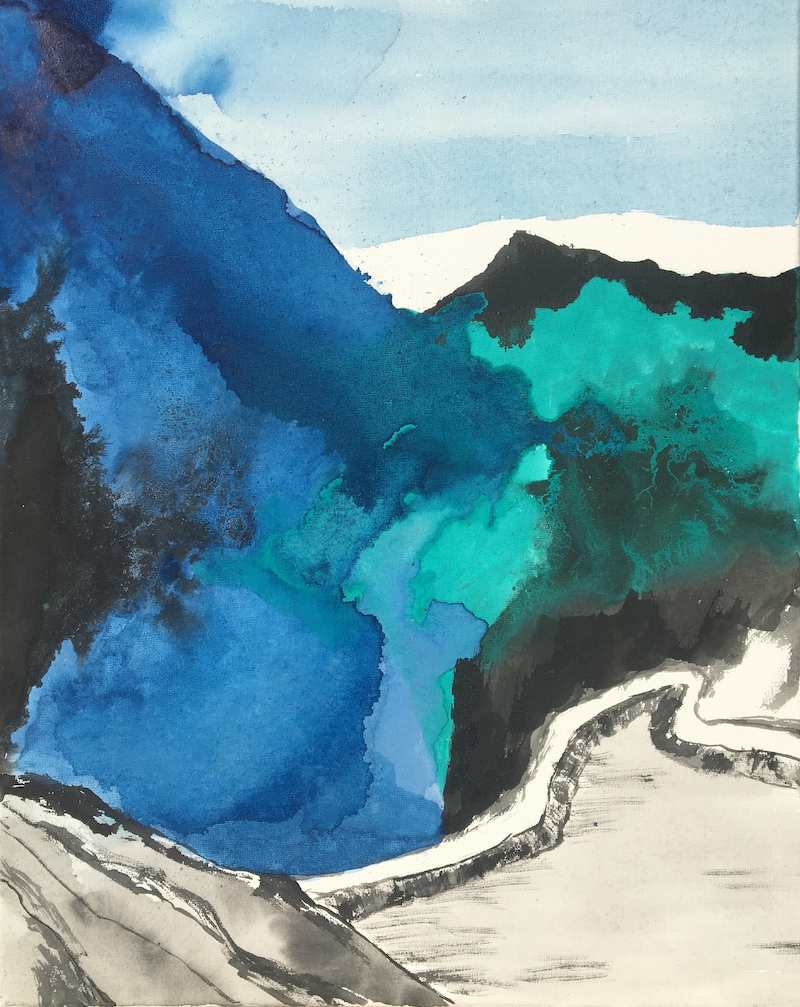 (CreativeWork) Blue & Green Landscape - Mountains-3 by Nora McLean. Watercolour Paint. Shop online at Bluethumb.