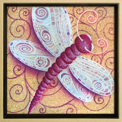 (CreativeWork) Dragonfly on Cork, in Frame by Nevena Nikolic. Mixed Media. Shop online at Bluethumb.