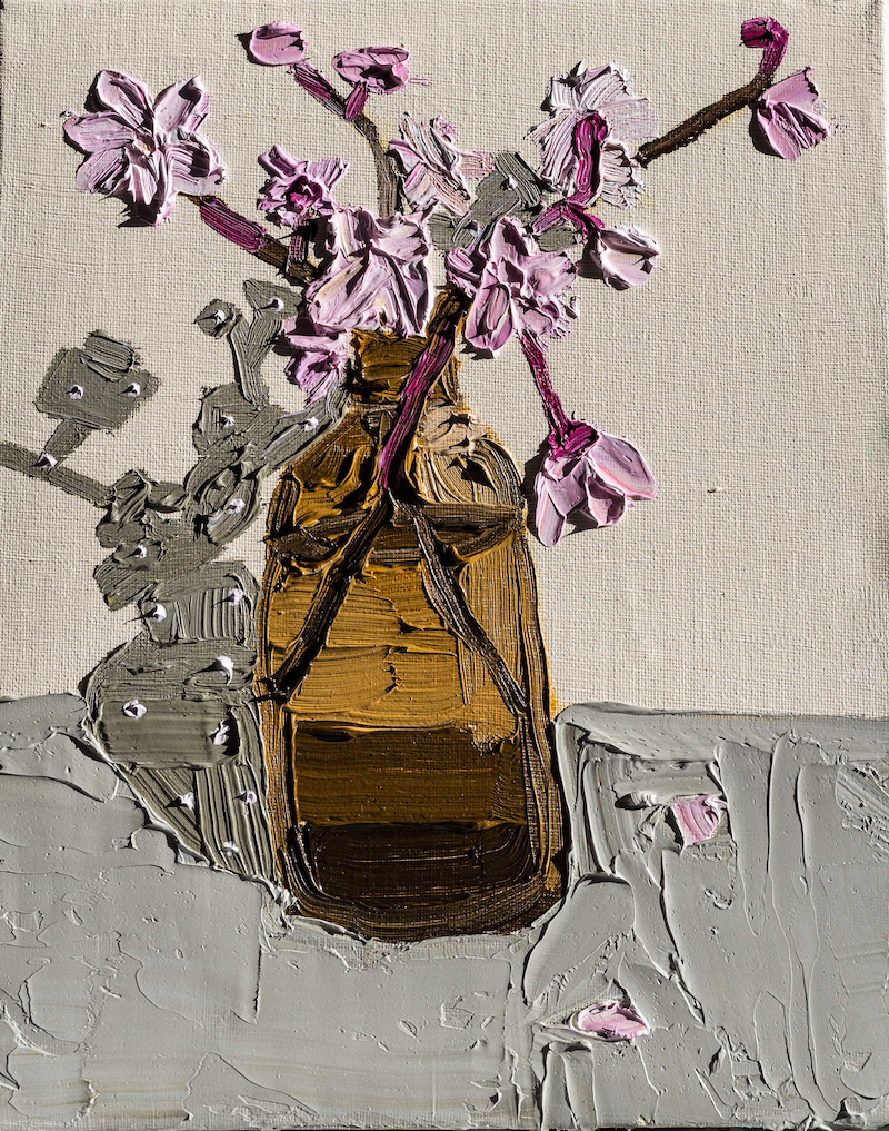 (CreativeWork) Blossoms in an Amber Bottle  by Katherine Warburton. Oil Paint. Shop online at Bluethumb.