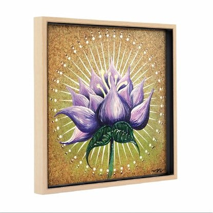 (CreativeWork) Light Lotus on Cork, in Frame by Nevena Nikolic. Mixed Media. Shop online at Bluethumb.