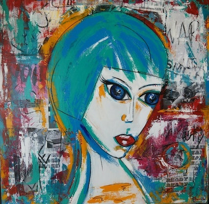 (CreativeWork) Baby Blue. Abstract Portait. Graffiti Street Art. Modern interior large painting.  by dMilo .. Mixed Media. Shop online at Bluethumb.