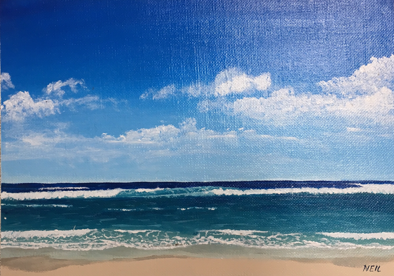 (CreativeWork) Zenith Beach by Kim Neil. Acrylic Paint. Shop online at Bluethumb.