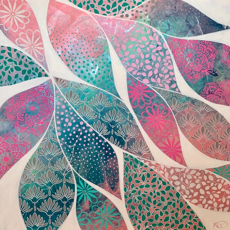 (CreativeWork) Pattern Pods by Rebecca Warr. Acrylic Paint. Shop online at Bluethumb.