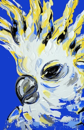 (CreativeWork) Cobalt Cockatoo by Lisa Fahey. Acrylic Paint. Shop online at Bluethumb.