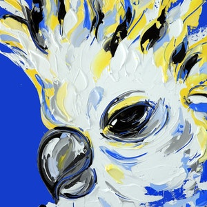 (CreativeWork) Cobalt Cockatoo by Lisa Fahey. #<Filter:0x0000559a30f517c8>. Shop online at Bluethumb.