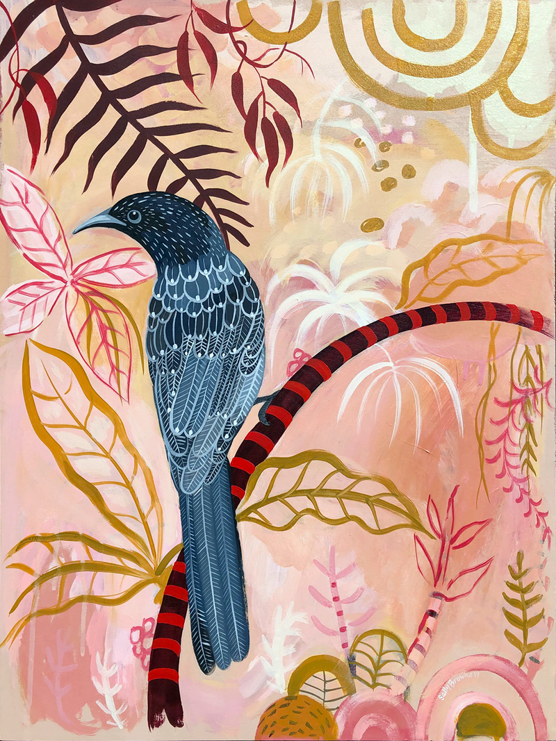 (CreativeWork) Wattle Bird Daiquiri by Sally Browne. arcylic-painting. Shop online at Bluethumb.