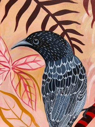 (CreativeWork) Wattle Bird Daiquiri by Sally Browne. Acrylic Paint. Shop online at Bluethumb.