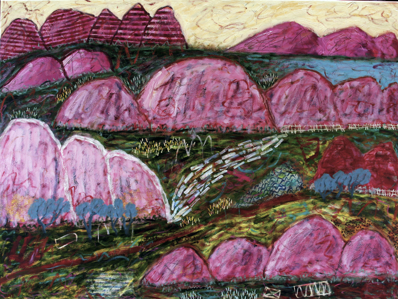 (CreativeWork) Valley and the ranges by James Lai. Acrylic Paint. Shop online at Bluethumb.