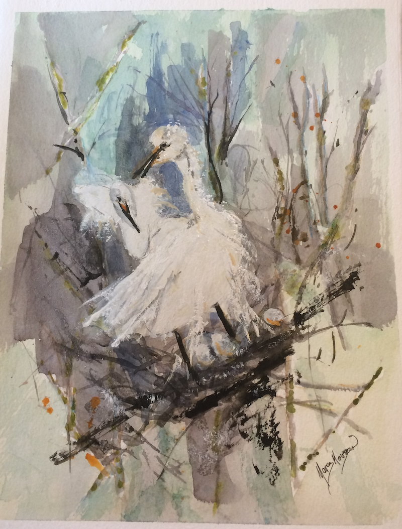 (CreativeWork) Egrets Nesting by Margaret Morgan (Watkins). Watercolour Paint. Shop online at Bluethumb.