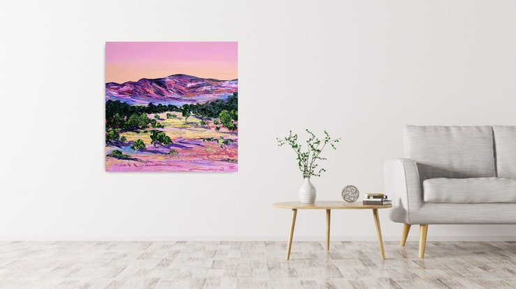 (CreativeWork) SALE - Highest Mountain by Angela Hawkey. Oil Paint. Shop online at Bluethumb.