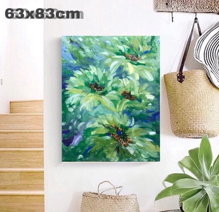 (CreativeWork) Green Daisy by Rain wu. Acrylic Paint. Shop online at Bluethumb.