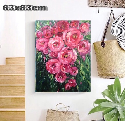 (CreativeWork) Red rose by Rain wu. Acrylic Paint. Shop online at Bluethumb.