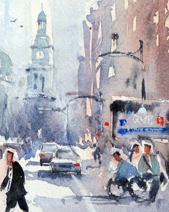 (CreativeWork) York Street, Sydney City by Chrysovalantou Mavroudis. Watercolour Paint. Shop online at Bluethumb.