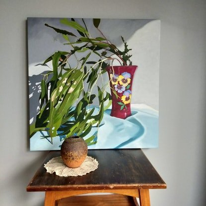 (CreativeWork) Gum leaves and vase by Sandra Jenkins. Oil Paint. Shop online at Bluethumb.