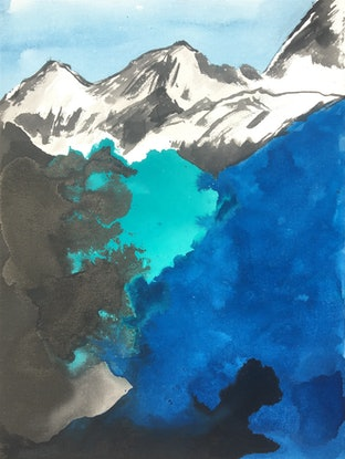 (CreativeWork) Blue & Green Landscape - Mountains-4 by Nora McLean. Watercolour Paint. Shop online at Bluethumb.