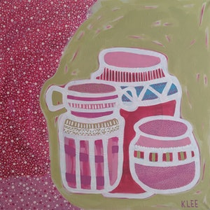 (CreativeWork) 3 Pots/2 by Karen Lee. arcylic-painting. Shop online at Bluethumb.