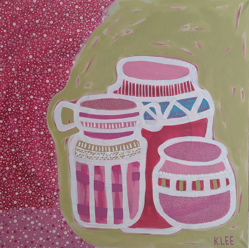 (CreativeWork) 3 Pots/2 by Karen Lee. acrylic-painting. Shop online at Bluethumb.