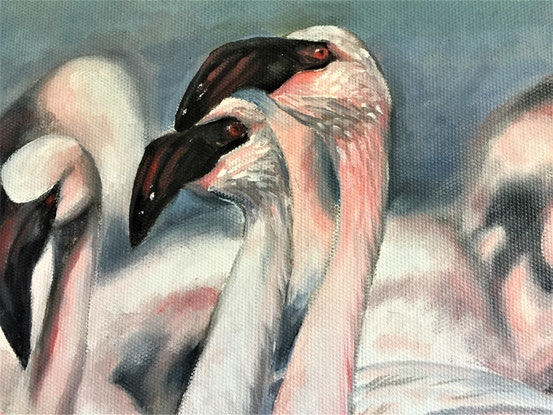 (CreativeWork) Pink Flamingos by cara page. Oil Paint. Shop online at Bluethumb.