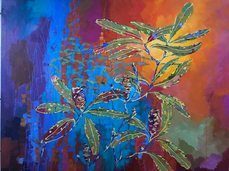 (CreativeWork) Old Man Banksia by Julie Sparks. Acrylic Paint. Shop online at Bluethumb.