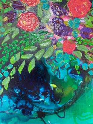 (CreativeWork) Leafy Teal by Tracy Stephenson. Acrylic Paint. Shop online at Bluethumb.