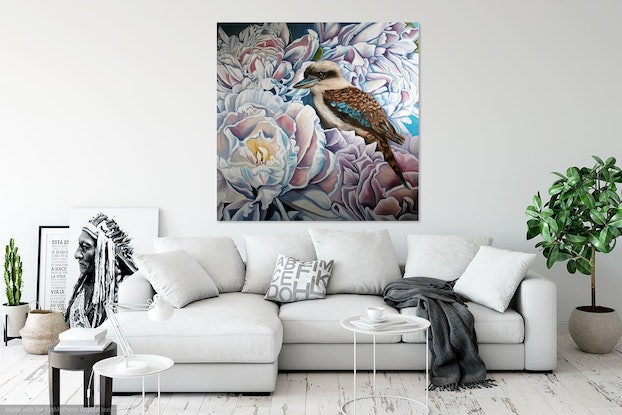 (CreativeWork) Peonies and the Kookaburra by Amanda Cameron. Oil Paint. Shop online at Bluethumb.